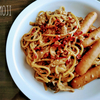 キノコの味噌クリームスパゲッティ