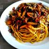 牛肉とアスパラガスと舞茸の炒め物スパゲッティ