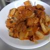 幸運な病のレシピ( 1490 )夜:鶏の唐揚げとごぼう巻のキムチテリテリ、青椒肉絲風、エノキ煮しめ、汁
