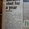 Borders shut for a year  どこのボーダー? 州境? 国境?