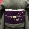 深緑地小千谷縮×紫地虫の行列絽染名古屋帯