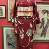 赤地モダン菊小紋×オレンジモダン紋章柄仕立て上がり名古屋帯
