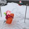庭で雪遊びをして運動不足解消