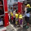 避難訓練・消防自動車見学