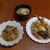 幸運な病のレシピ( 950 )昼:野菜炒め(仕立て直し)、里芋とひき肉の炒め煮付け