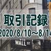 【取引記録】2020/8/10週の取引(確定利益$575、含み損$-3,810)