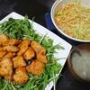 照り焼きチキン風、ごま和えサラダ、味噌汁