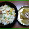 17/08/20の昼食(さつま芋の炊込みご飯と冬瓜煮物)