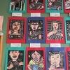 4年生:図工 一版多色刷りの自画像完成掲示