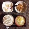 野菜豆腐スープ、小粒納豆、バナナヨーグルト。