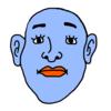 何かを悟った青色の顔 のイラスト
