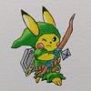 色付けしました!リンク装備のイケメンピカ様。Colored. Cool Pikachu, Link style.