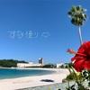 ハイビスカスが咲いてますが、秋の気配漂う白良浜です