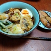 幸運な病のレシピ( 2367 )昼:アオリイカ・鳥の天麩羅、鱒、塩サバ、蕎麦