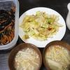 豚大根、キャベツアンチョビ炒め、味噌汁、ひじき
