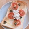 朝ご飯:簡単トマトとバジルペーストにオリーブオイルとカッテージチーズでオシャレトースト