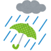 大雨と洪水警報が発令中