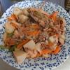 幸運な病のレシピ( 1694 )朝 :里芋の紅生姜味噌(新味)、丸干しイワシ、鮭、味噌汁、マユのご飯