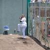 α7Ⅲの連写Hi+で阪神タイガース秋山投手の投球練習を撮る