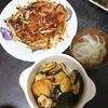 ズッキーニのマリネとガレット、ひじきのガラムマサラ炒め、スープ