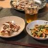 お好み焼き、野菜と春雨の中華サラダ