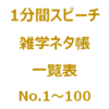 1分間スピーチ|雑学ネタ帳の一覧表(No.1~100)です。