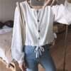 【韓国ファッション】レディース ショートブラウス ホワイト ブラウス ショート丈 パフスリーブ
