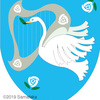 白鳥の紋章、ハープを持って。