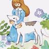 犬水彩イラストレーター