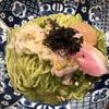 503. 鴨と煮干しの抹茶そば@八咫烏(九段下):抹茶を使った独創的な限定麺!汁なしと汁ありで2度おいしい煮干し系の新たな形!