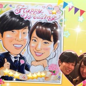 お客様の似顔絵(33)/結婚式ウェルカムボード、卒寿祝い、米寿祝い