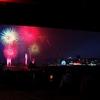 みなと神戸海上花火大会、ポートアイランド側の神戸大橋の下より撮影