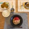 (子供のリクエストに応えて)プリキュアカレーと納豆、(おとな)ラ王の冷やし中華