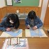 6年生:図工 木版画の自画像完成