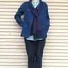 今日の服|無地のブルーのアイテムオンリーで組んだ、春の重ね着コーディネート
