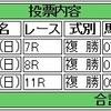 12/25(日)の複勝コロガシの予想。11時時点のオッズで1,200→9,600円