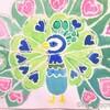 【絵具遊び】バチック塗り絵~くじゃく(6歳)