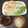 天ぷら、ツナピーマン、味噌汁