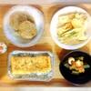 蓮根鶏ハンバーグ、ちくわエリンギ、オクラ梅肉、玉子焼き
