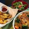 リメイクカレーのドリアとポテトフライの夕ご飯