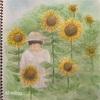 夏の思い出【ひまわり畑の娘】スケッチブックで大人の絵日記