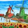 ペン画小話その6・オランダの風車小屋