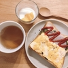 朝ご飯:ふわふわたまごとケチャップのハーフ&ハーフトースト