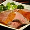 豊洲の「米花」でローストビーフ・トリュフの香り、つくねと根菜の煮物。