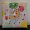子どもの描いた絵で『ファブリックパネル時計』を作ってみた