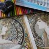 完成】ミュシャ塗り絵『つた&月桂樹』 塗り過程(メイキング)です☆ミュシャぬりえファンタジーより