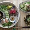 夏の盛合わせ(香菜、ねぎ、生姜、紫玉ねぎ、出汁海老、ブラッククミン、手前味噌で食べる冷奴)