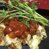 今日のランチお野菜たっぷり♪ふわとろトマトお好み焼き