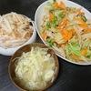 白菜炒め、大根サラダ、味噌汁
