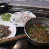幸運な病のレシピ( 2383 )夜:ステーキ、バンバンジー、汁仕立直し